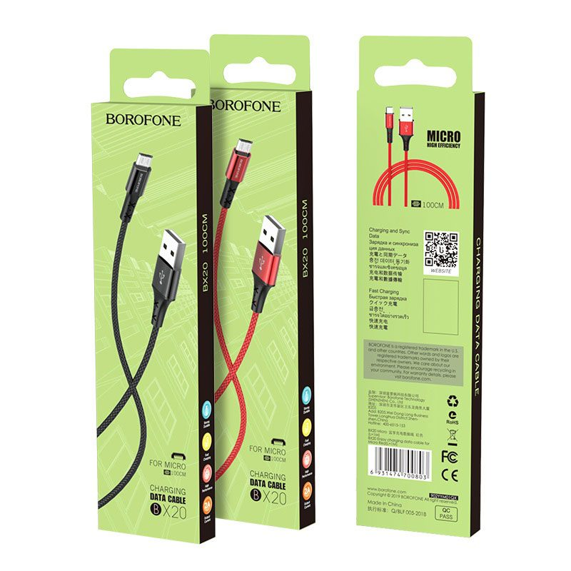 borofone bx20 enjoy micro usb charging data cable package