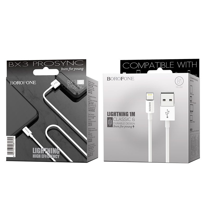 borofone bx3 prosync lightning usb charging data cable package