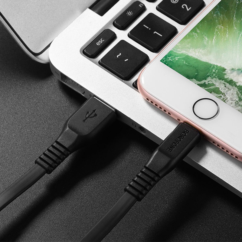 borofone bx5 flashsync lightning usb charging data cable tail