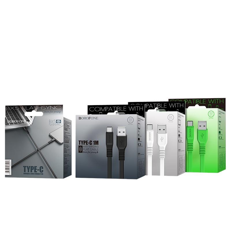 borofone bx5 flashsync type c usb charging data cable package