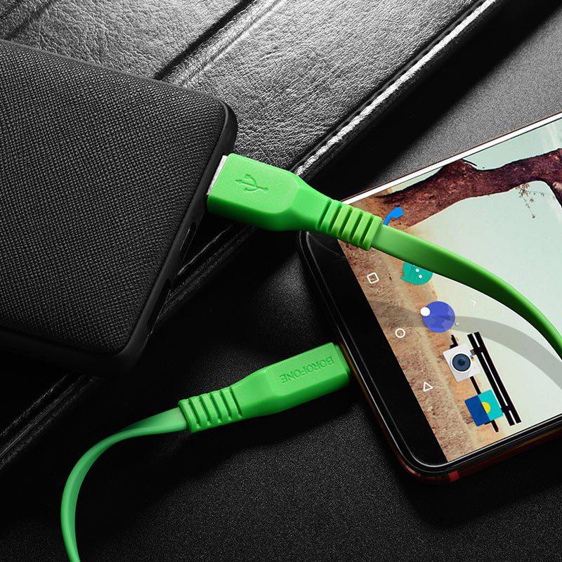 borofone bx5 flashsync type c usb charging data cable phone