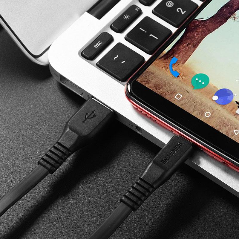 borofone bx5 flashsync type c usb charging data cable tail