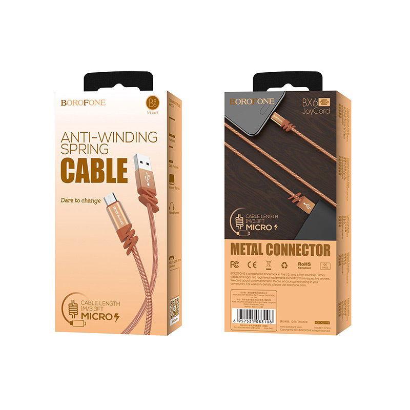 borofone bx6 joycord micro usb charging data cable rose gold box