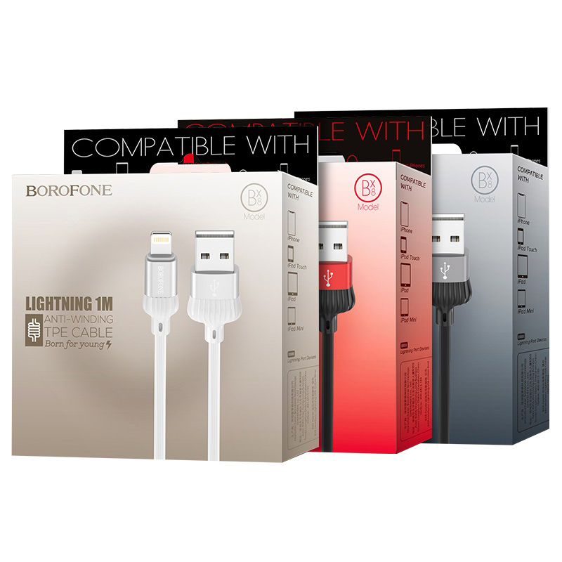 borofone bx8 maxsync lightning usb charging data cable package