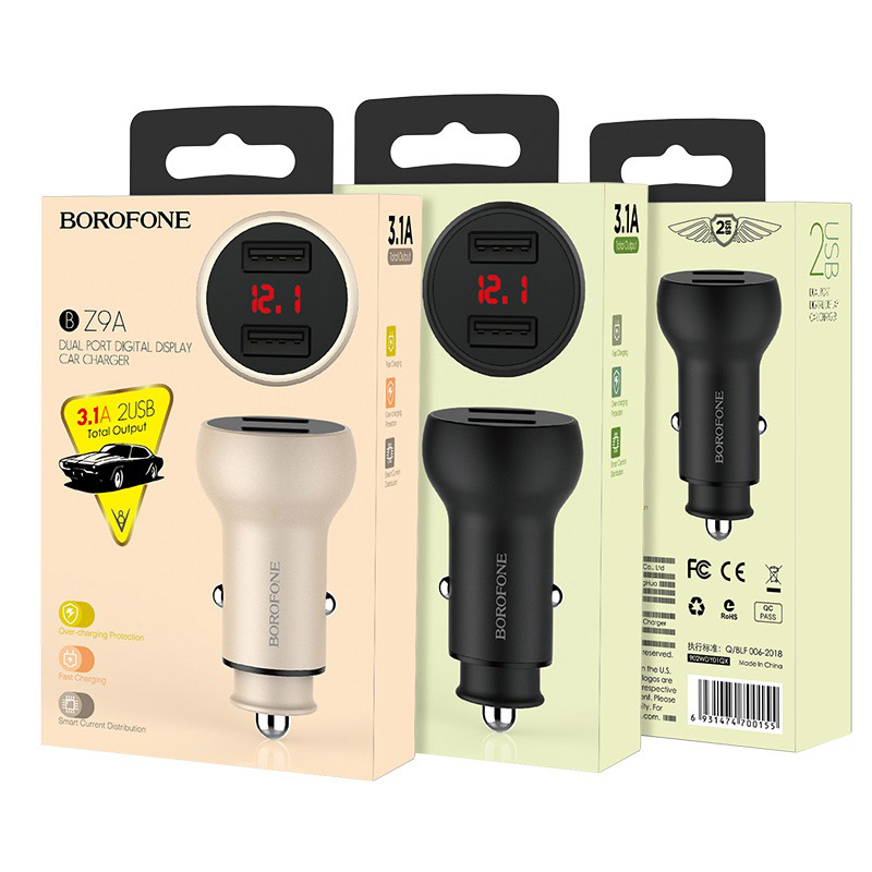 borofone bz9a wise route dual usb port digital display car charger package