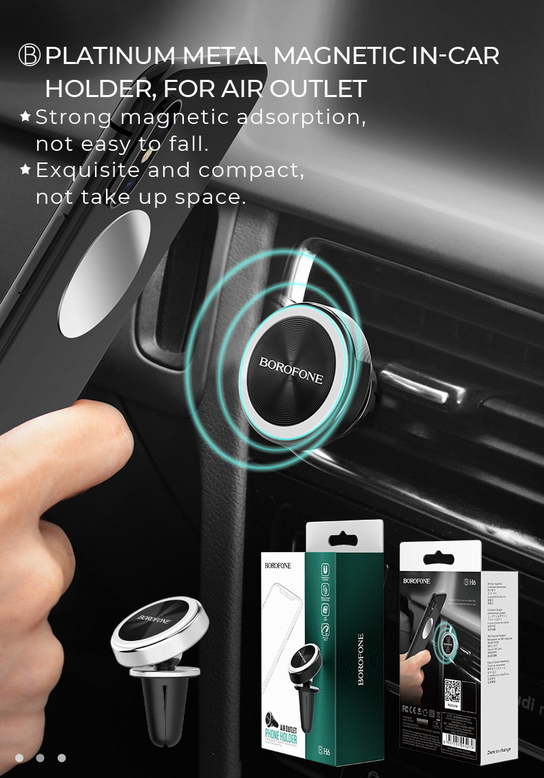 borofone news h series in car phone holder platinum en