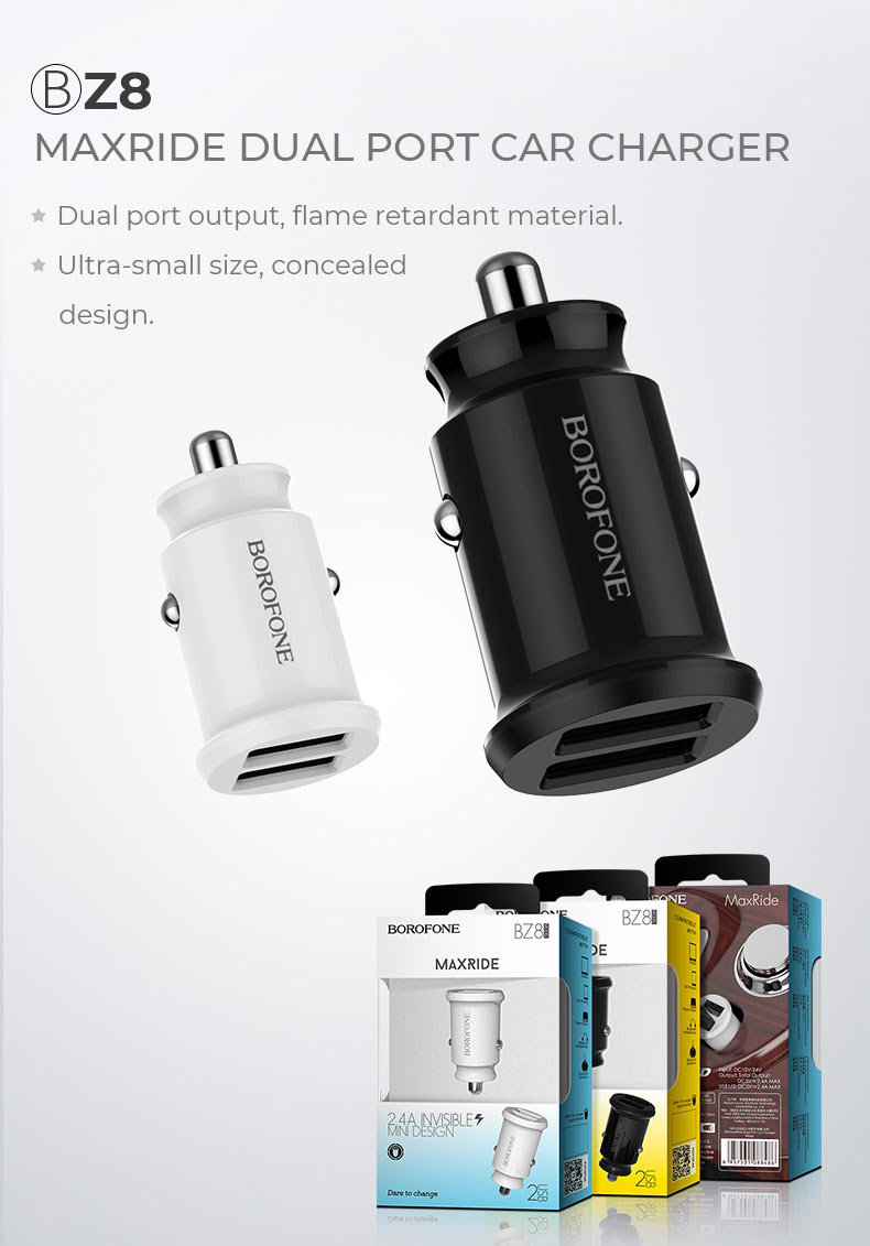 borofone news z series in car charger z8