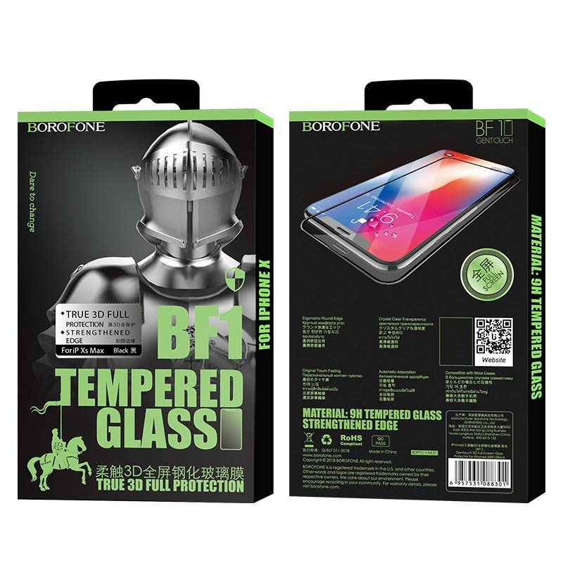 borofone bf1 gentouch 3d full screen tempered glass protector for iphone xr xs max package