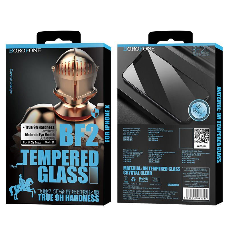 borofone bf2 freetouch 2.5d tempered glass screen protector for iphone xr package