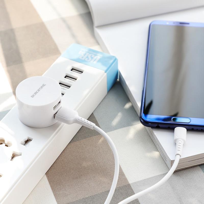 borofone ba23b brilliant dual usb port wall charger uk charging