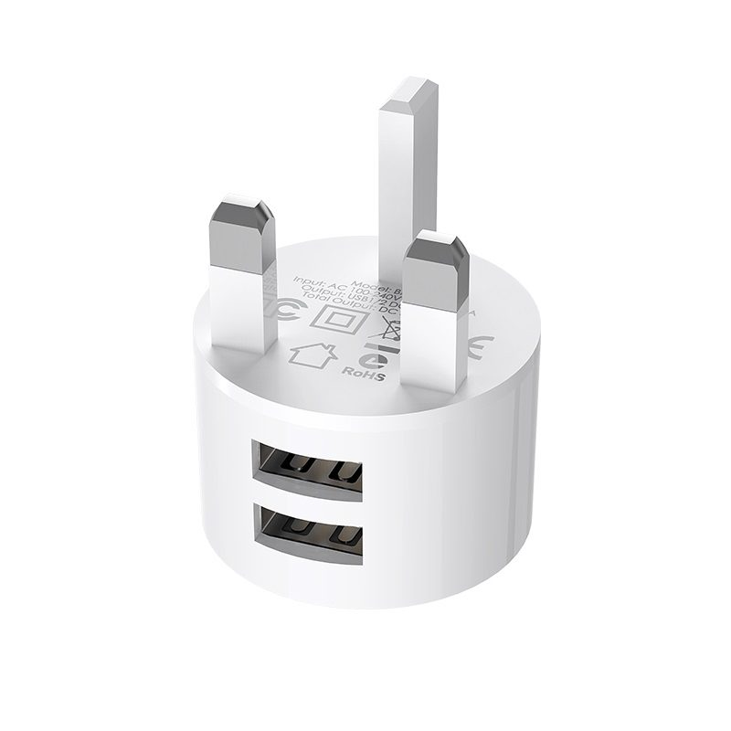 borofone ba23b brilliant dual usb port wall charger uk pins