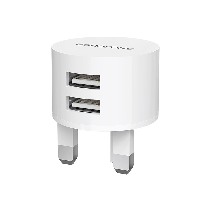 borofone ba23b brilliant dual usb port wall charger uk