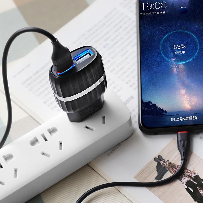 borofone ba24a vigor двойной usb порт зарядное устройство ес комплект с микро usb кабелем внутри