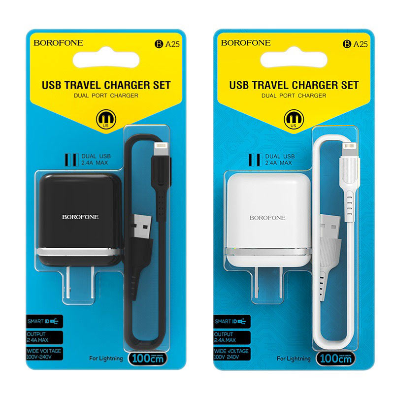 borofone ba25 outstanding dual usb port wall charger us set with lightning cable packages