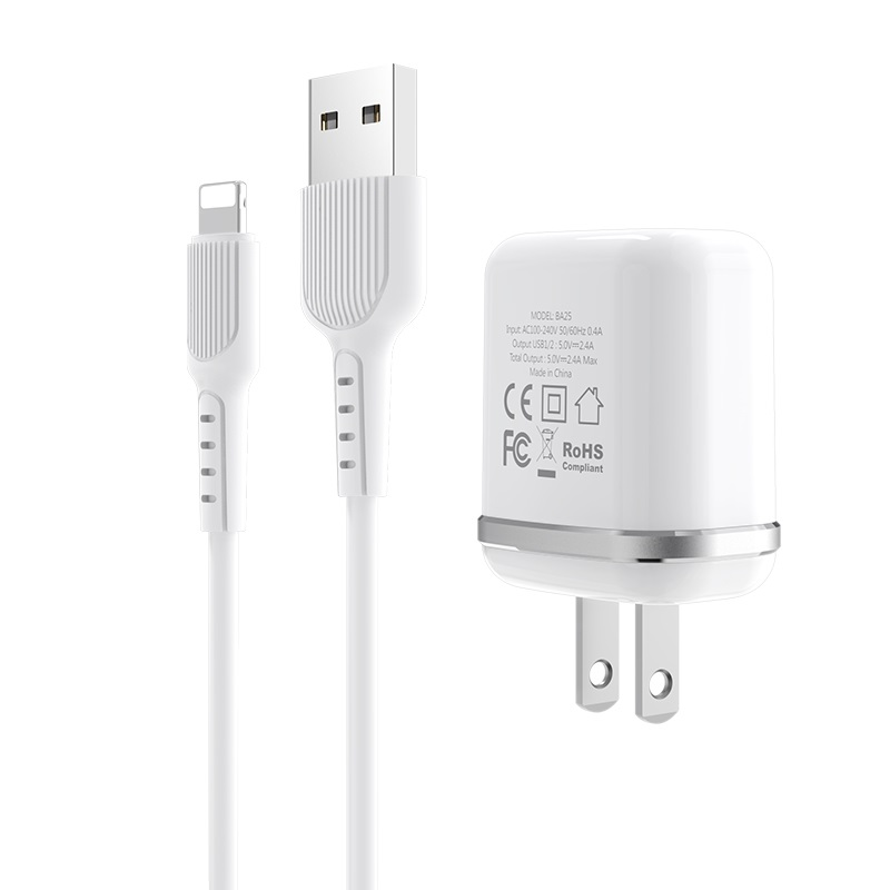 borofone ba25 outstanding dual usb port wall charger us set with lightning cable plug
