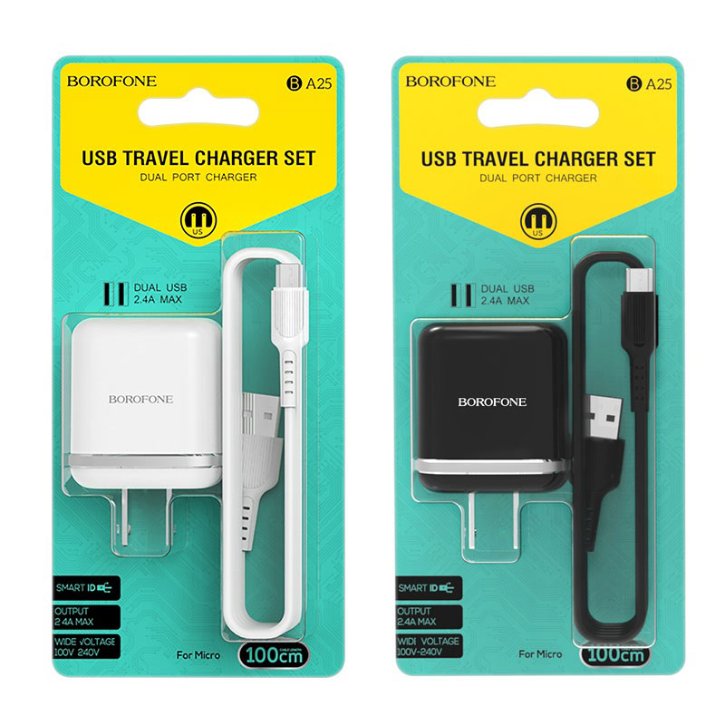borofone ba25 outstanding dual usb port wall charger us set with micro usb cable packages