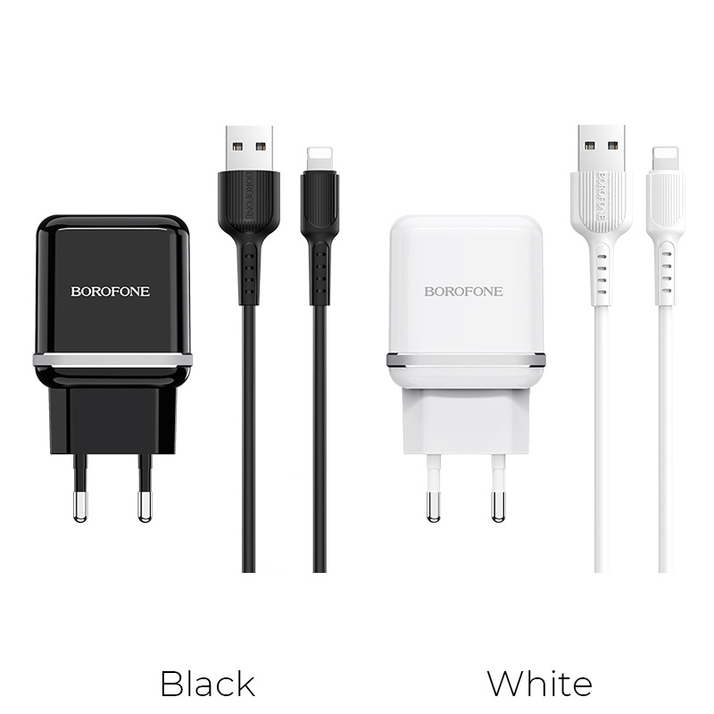 borofone ba25a outstanding dual usb port wall charger eu set with lightning cable colors