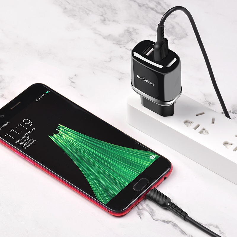 borofone ba25a outstanding dual usb port wall charger eu set with micro usb cable charging