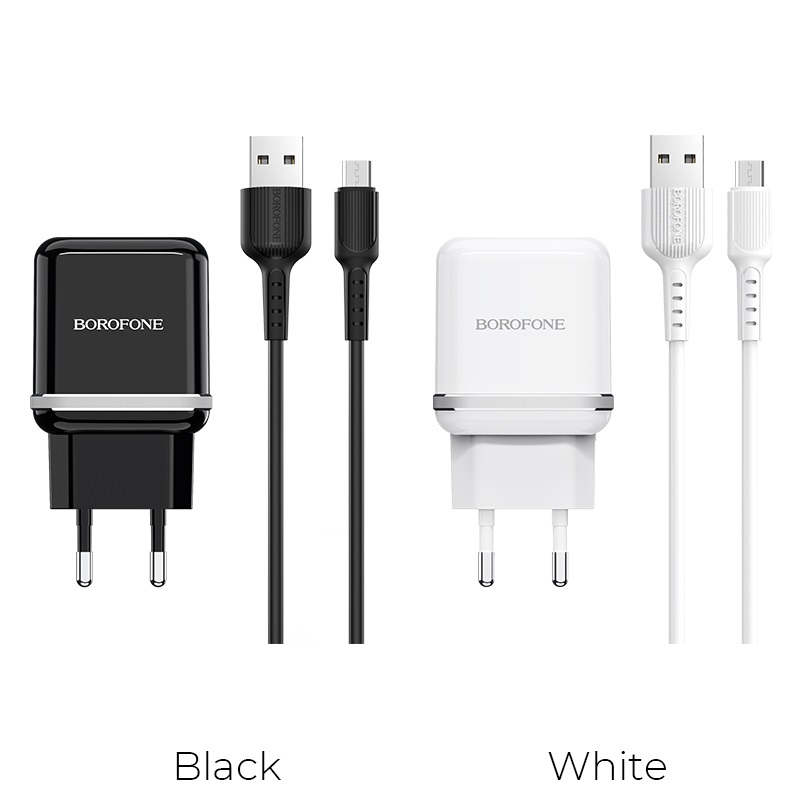 borofone ba25a outstanding dual usb port wall charger eu set with micro usb cable colors