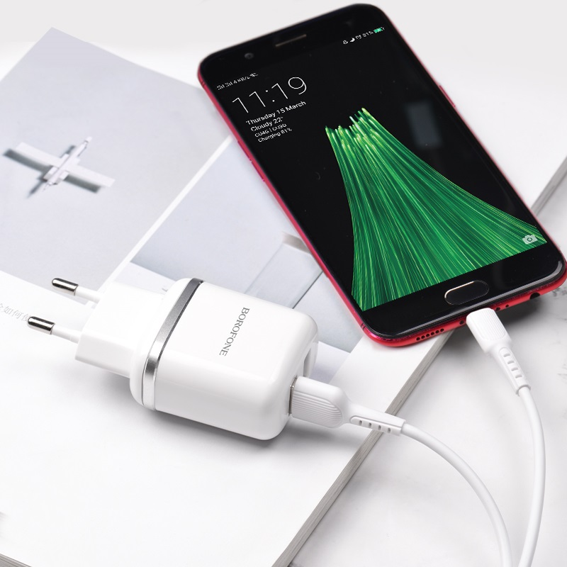 borofone ba25a outstanding dual usb port wall charger eu set with micro usb cable interior