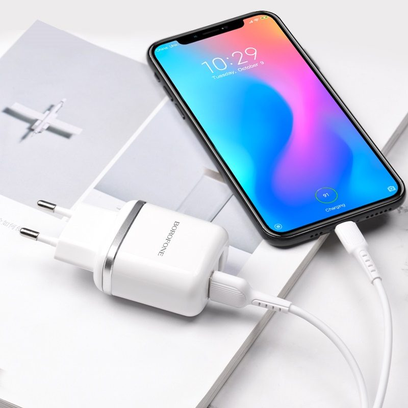 borofone ba25a outstanding dual usb port wall charger eu set with usb c cable interior