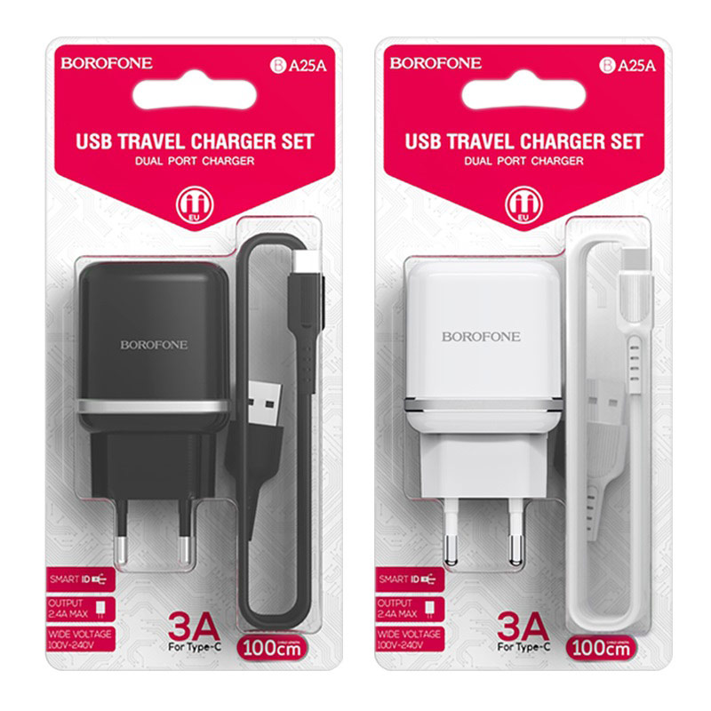 borofone ba25a outstanding dual usb port wall charger eu set with usb c cable packages
