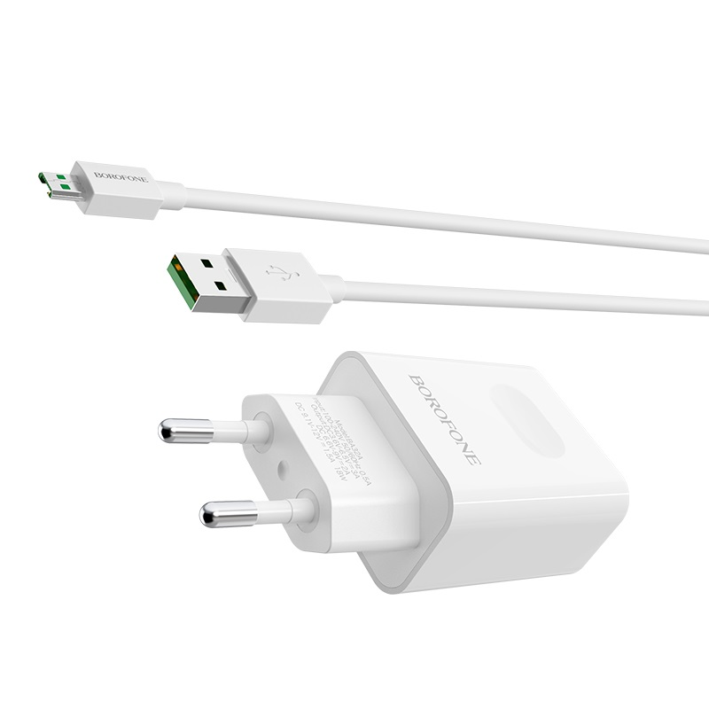 borofone ba32a bright power widely compatible charger eu set with micro usb cable kit