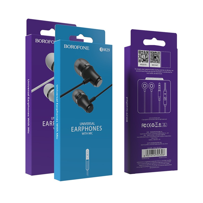 borofone bm29 gratified universal wired earphones with mic packages