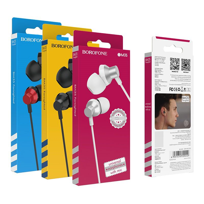 borofone bm35 farsighted universal earphones with mic packages
