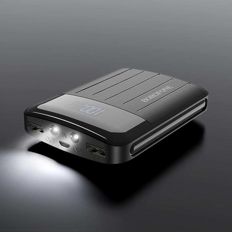 borofone bt21 universal energy mobile power bank 10000mah flash light