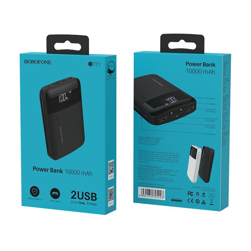 borofone bt21 universal energy mobile power bank 10000mah package front back
