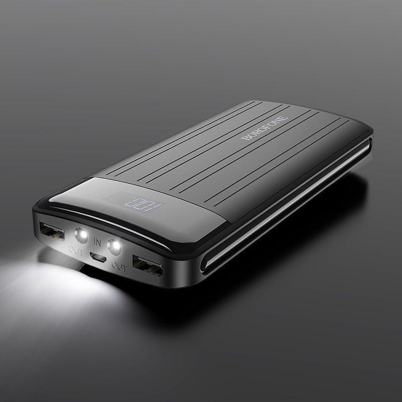 borofone bt21a universal energy mobile power bank 20000mah flash light