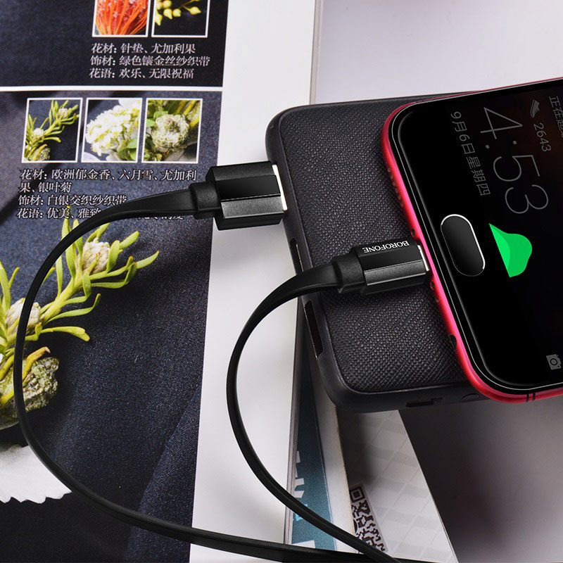borofone bu8 glory charging data cable for micro usb interior black