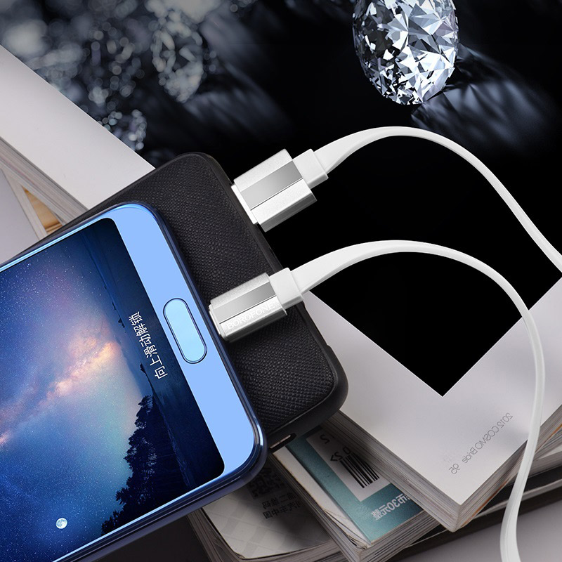 borofone bu8 glory charging data cable for usb c interior white