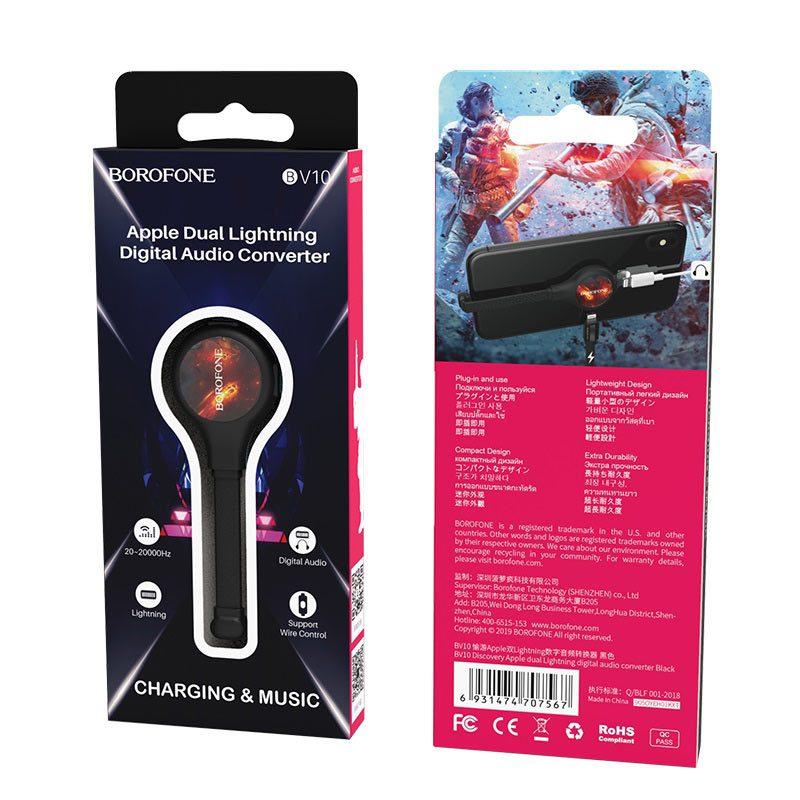 borofone bv10 discovery apple dual lightning digital audio converter packages
