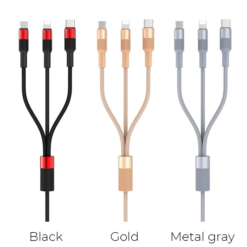borofone bx21 3in1 outstanding charging data cable colors