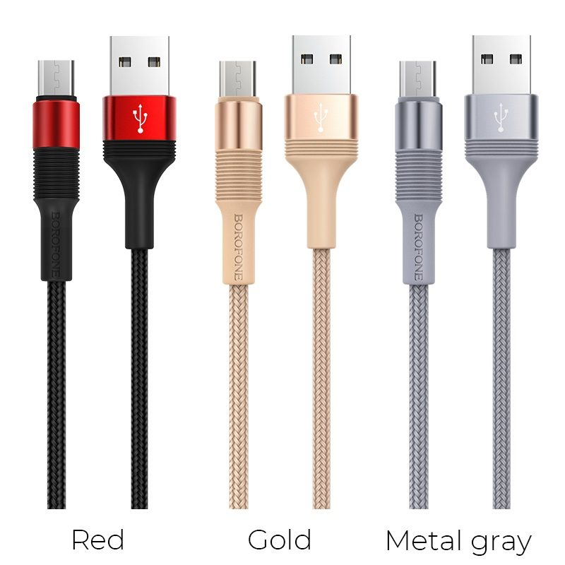 borofone bx21 outstanding charging data cable for micro usb colors