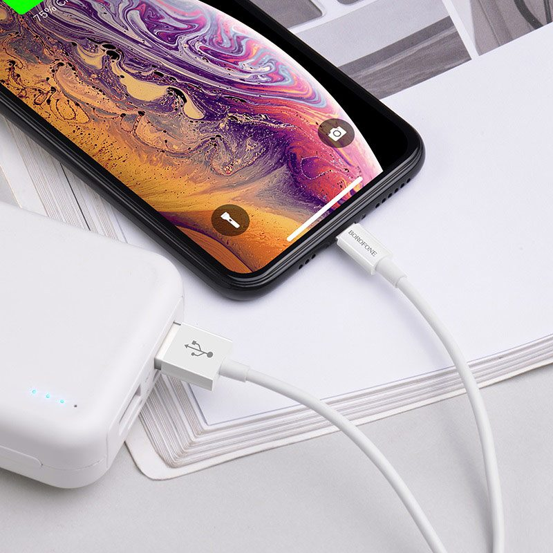 borofone bx22 bloom charging data cable for lightning charging