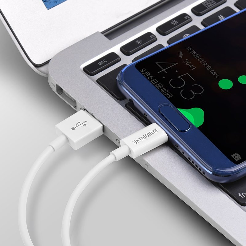 borofone bx22 bloom charging data cable for usb c interior