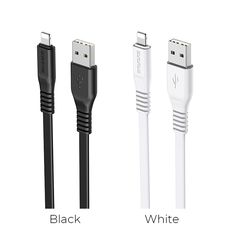borofone bx23 wide power charging data cable for lightning colors