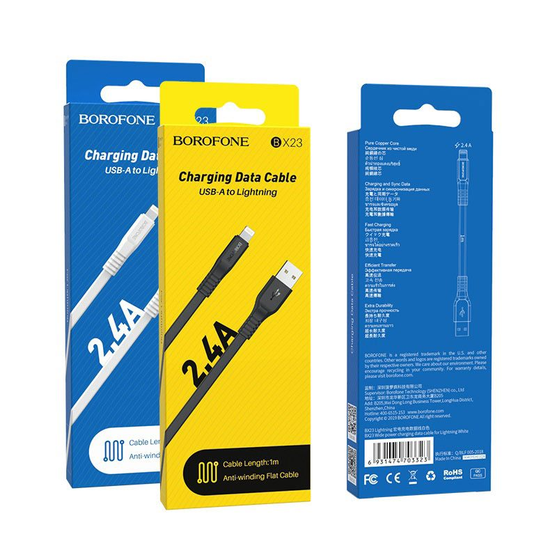 borofone bx23 wide power charging data cable for lightning packages