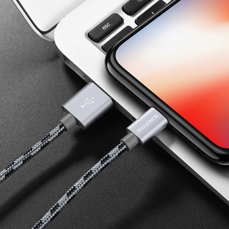 borofone bx24 ring current charging data cable for lightning charging