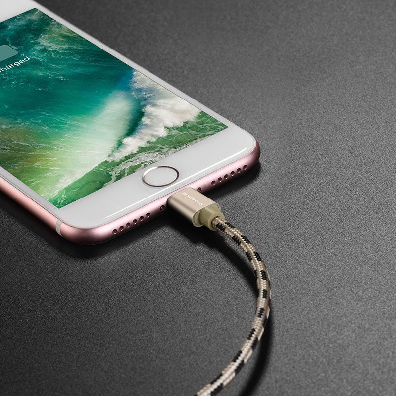 borofone bx24 ring current charging data cable for lightning interior