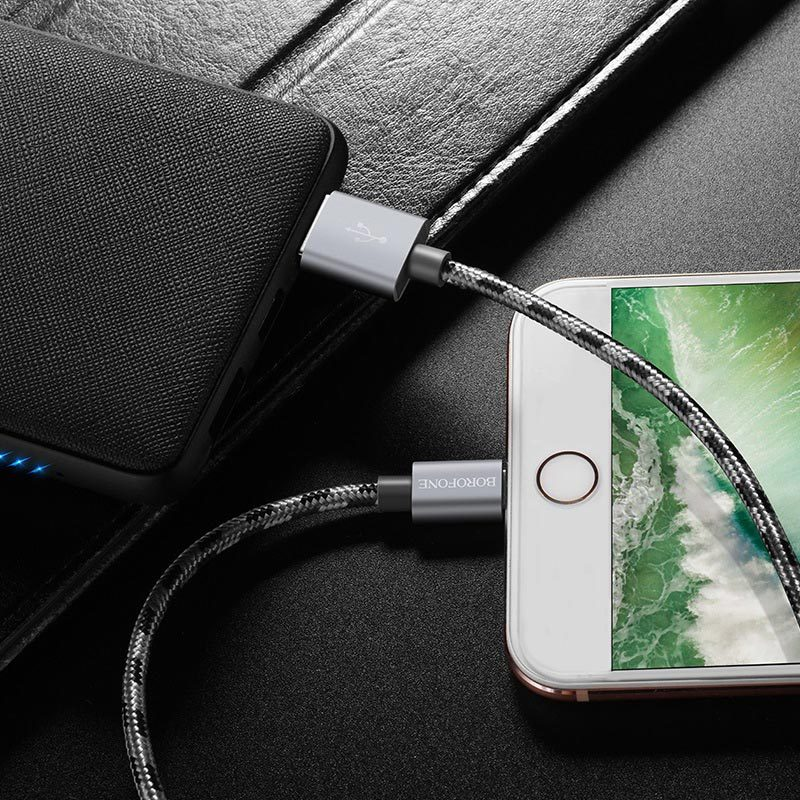 borofone bx24 ring current charging data cable for lightning overview
