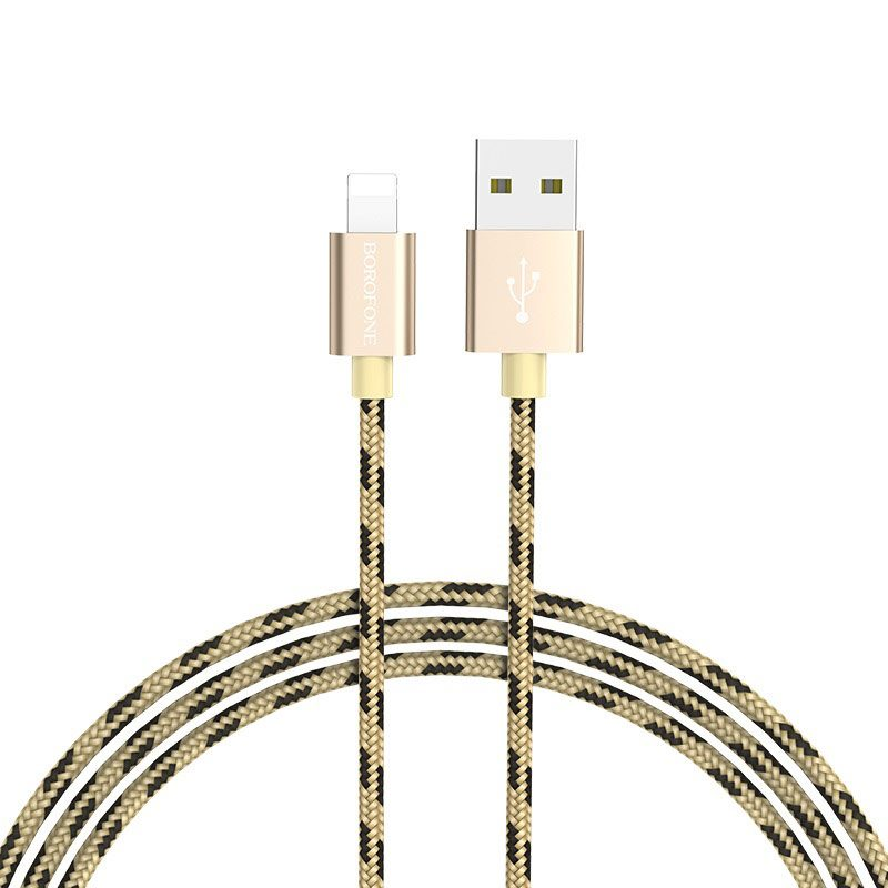 borofone bx24 ring current charging data cable for lightning rounded
