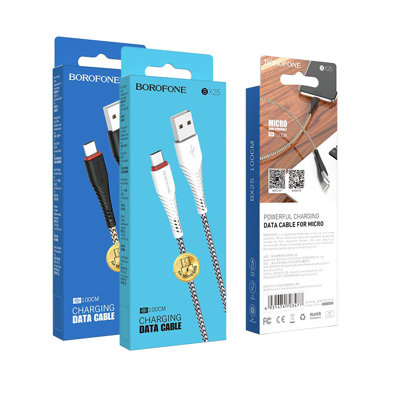 borofone bx25 powerful charging data cable for micro usb packages
