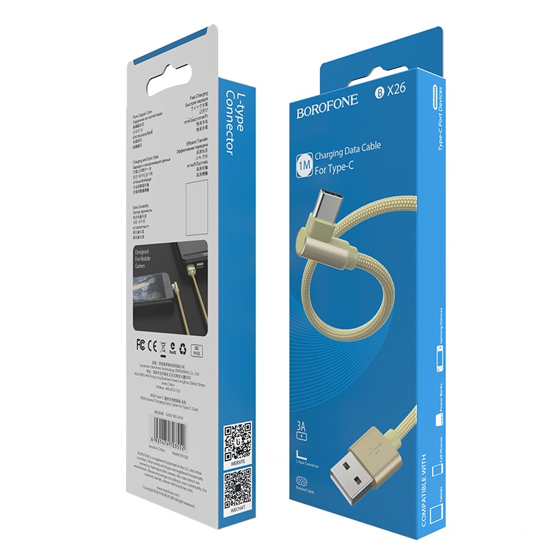 borofone bx26 express charging data cable for usb c package front back