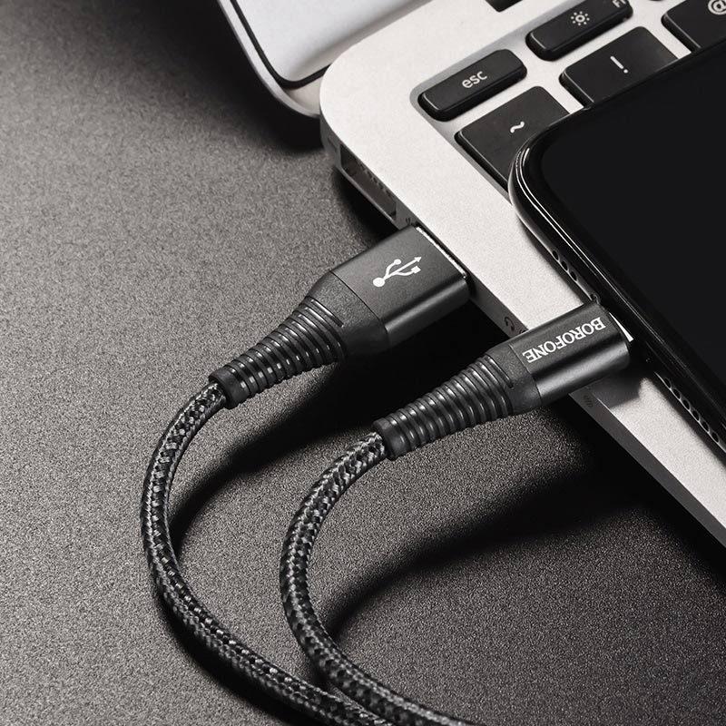 borofone bx29 endurant charging data cable for lightning interior
