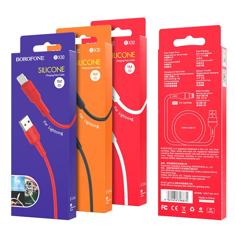 borofone bx30 silicone charging data cable for lightning packages