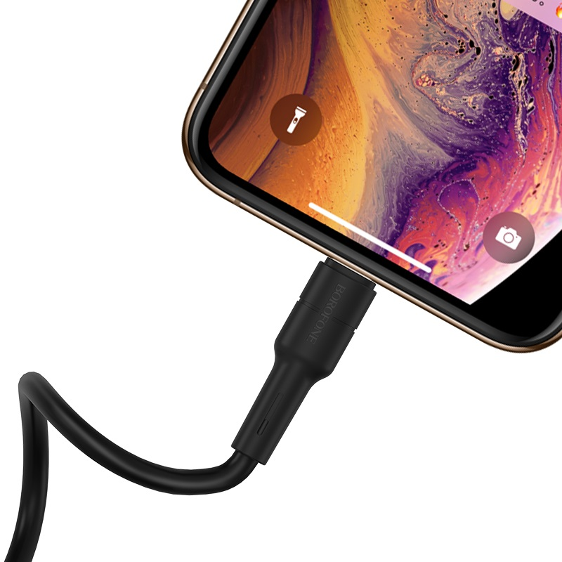 borofone bx30 silicone charging data cable for lightning phone